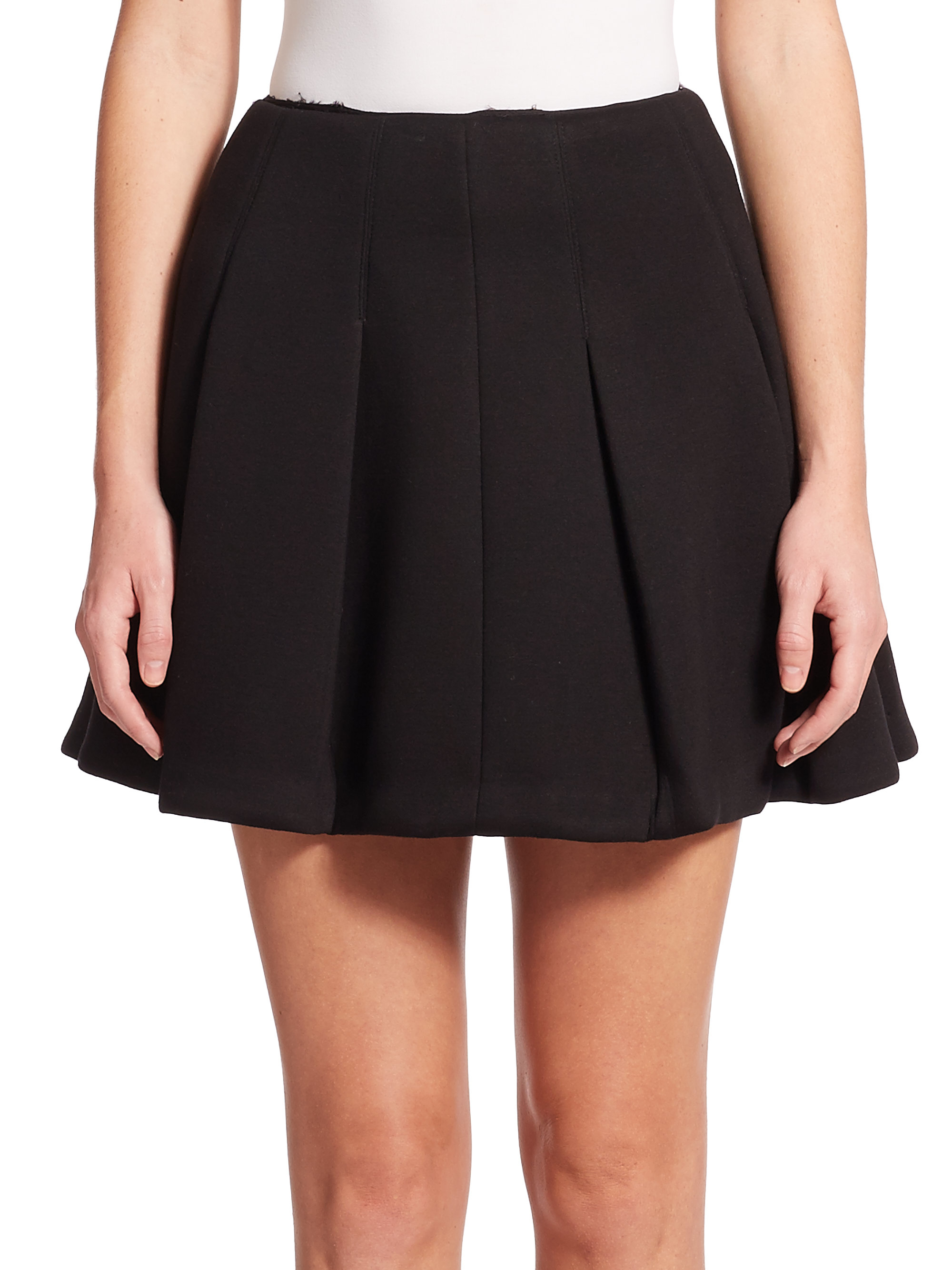 t by wang pleated scuba mini skirt in brown lyst