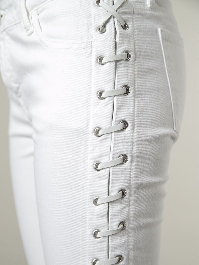 Each X Other Lace Detail Skinny Mid Rise Jeans In White Lyst