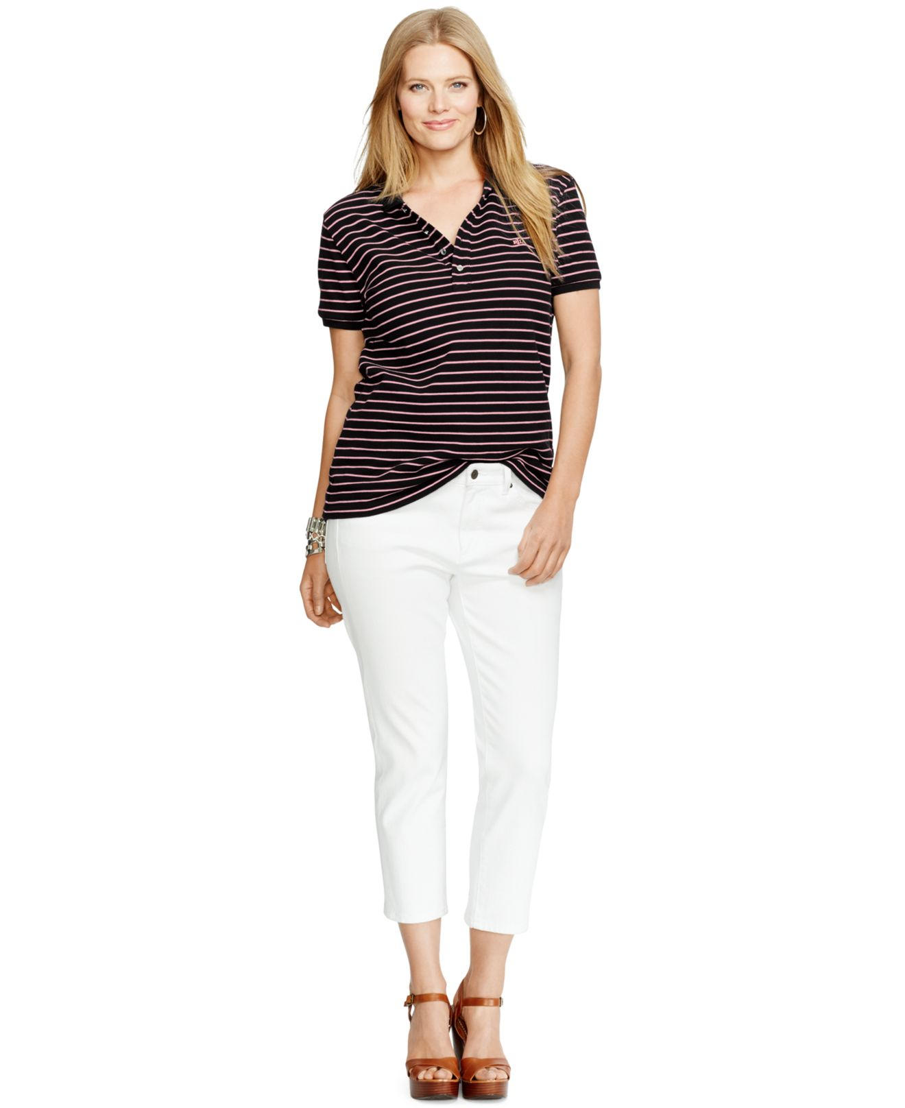 Lauren By Ralph Lauren Plus Size Striped Polo Shirt In Red