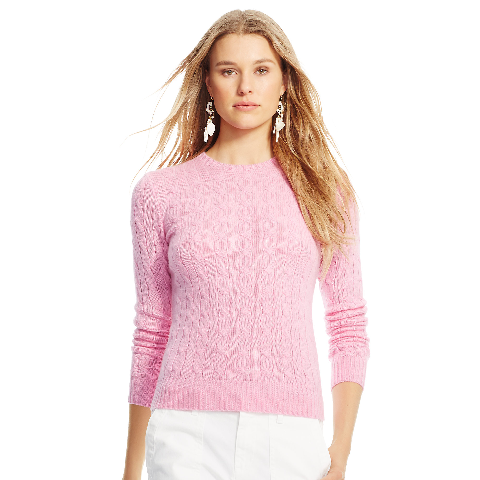 e4fc0ba4ba ... new arrivals lyst polo ralph lauren slim cable cashmere sweater in pink  bbf25 d292a