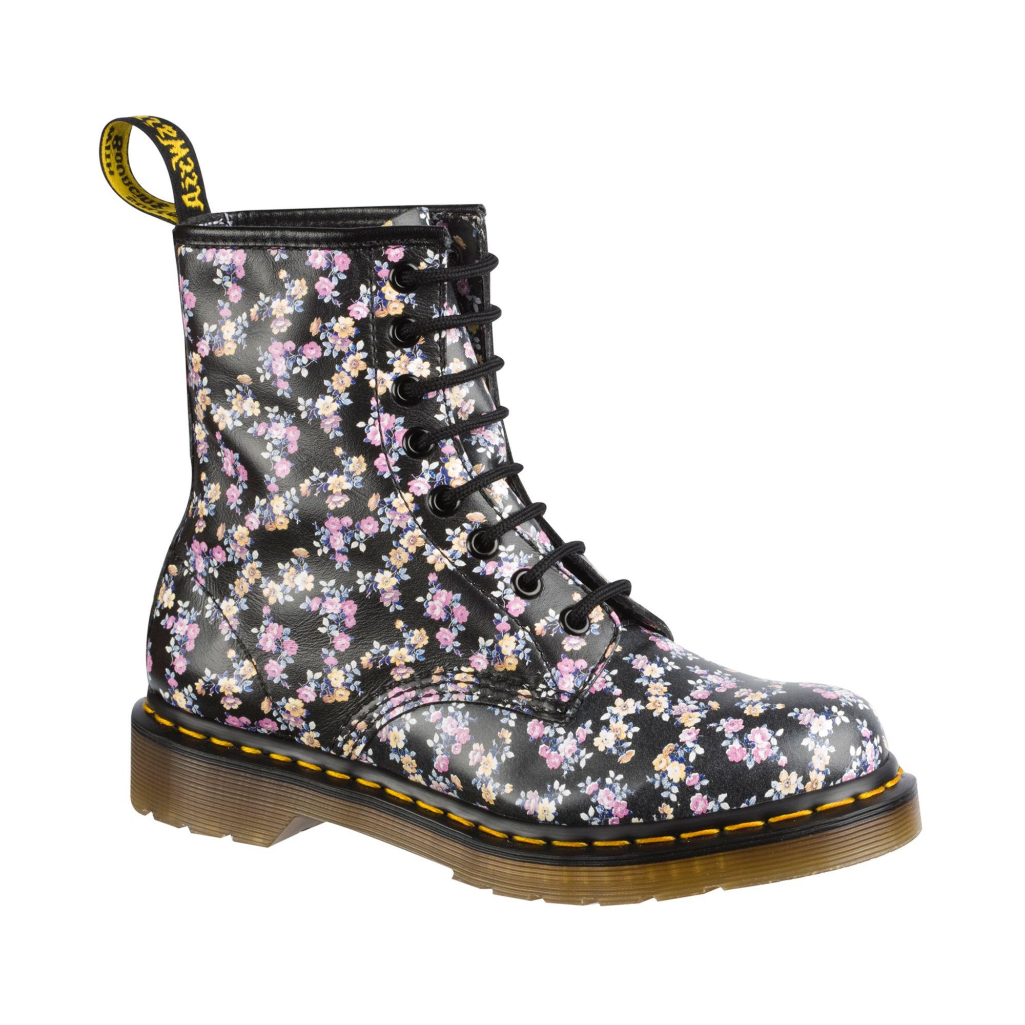 dr martens floral boots in pink black lyst. Black Bedroom Furniture Sets. Home Design Ideas