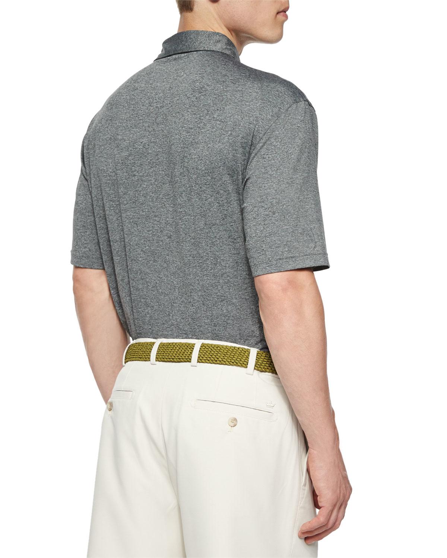 Peter Millar Short Sleeve Jersey Knit Polo Shirt In Gray