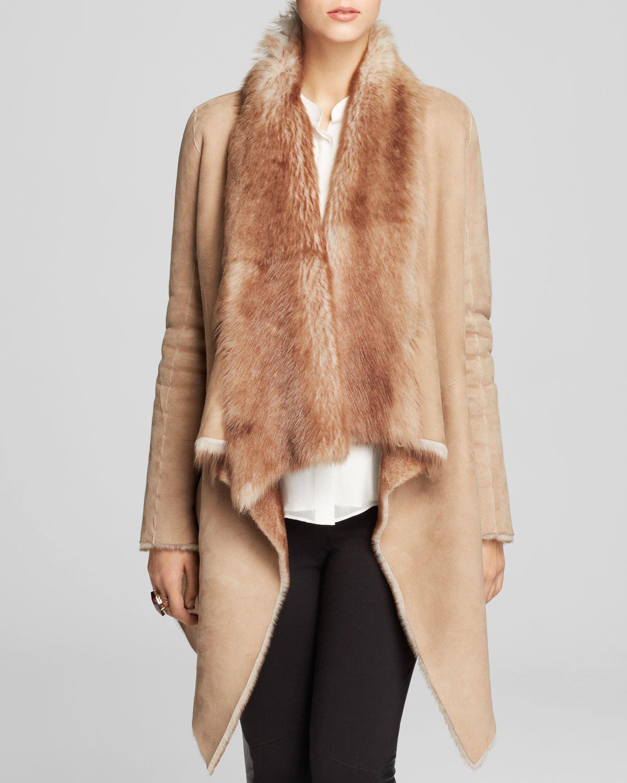 Elie tahari Preston Lamb Shearling Drape Coat - Bloomingdale'S ...