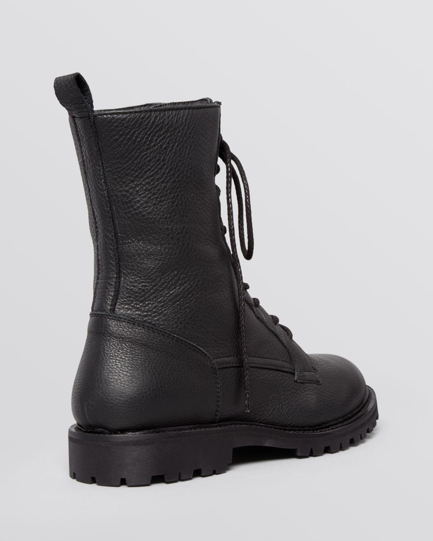 Max mara Flat Lace Up Combat Boots - Bagagli in Black | Lyst