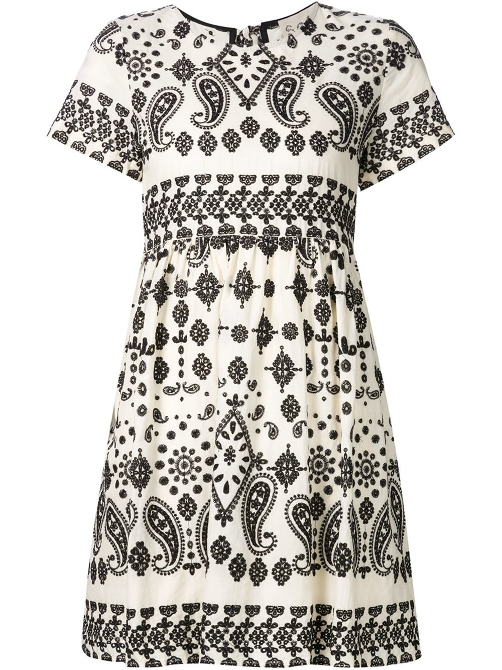 Sea embroidered dress in brown lyst