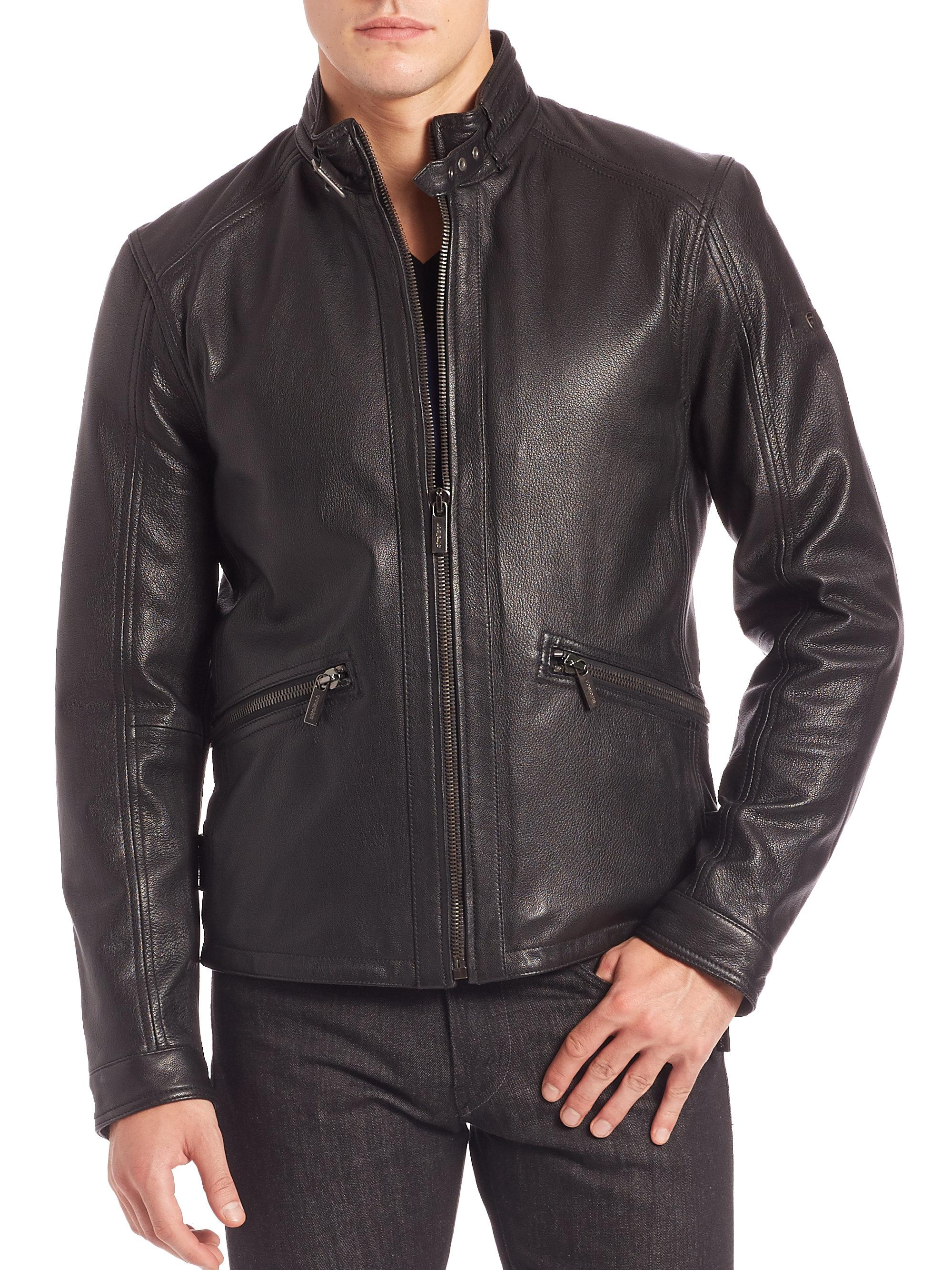 Lyst Strellson Leather Biker Jacket In Black For Men