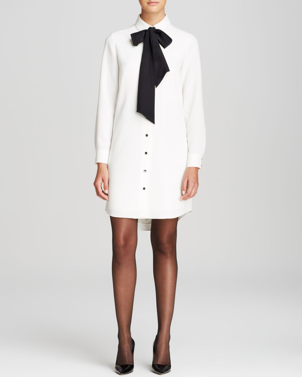 kate spade new york griffin shirt dress in natural lyst