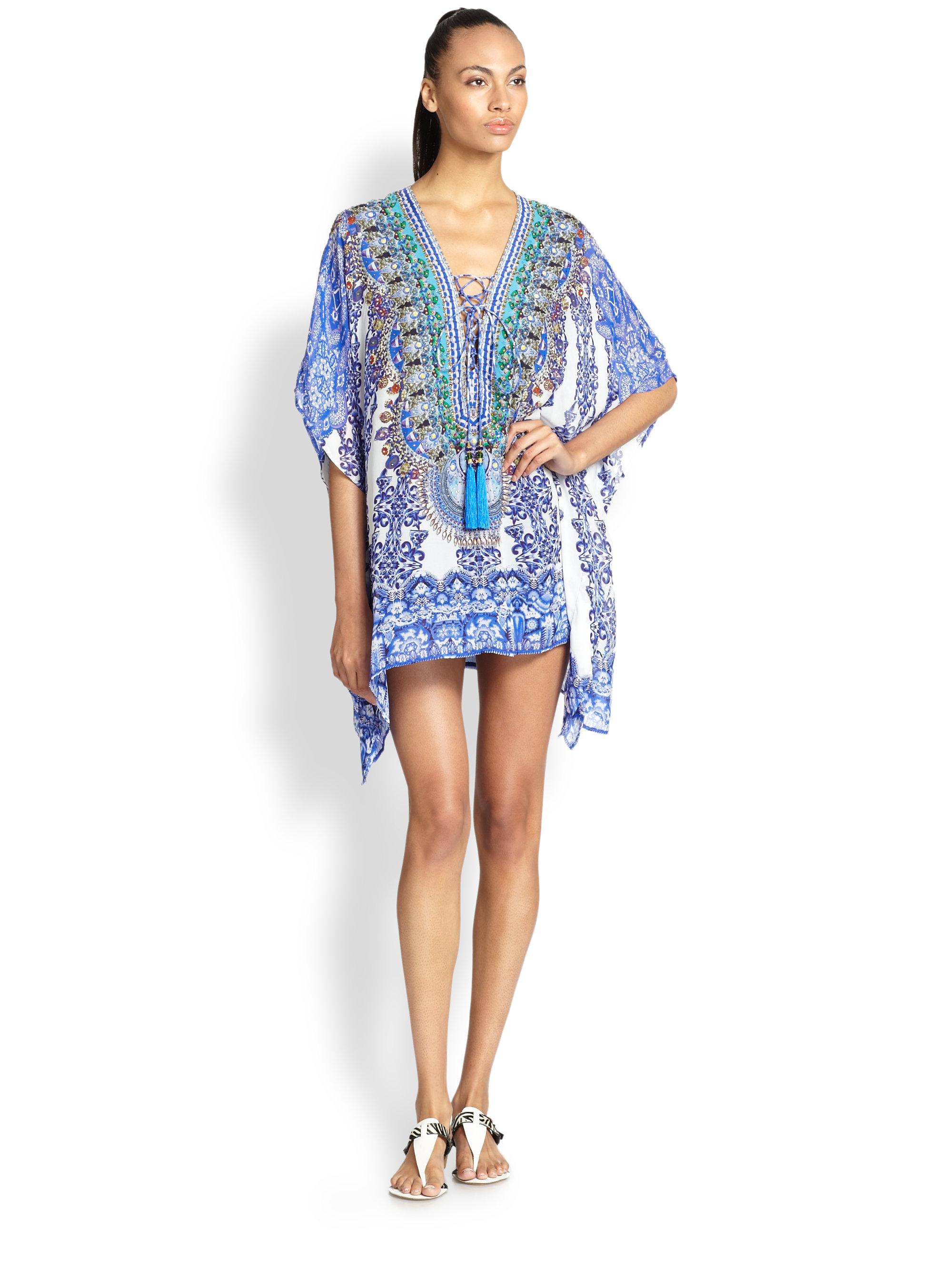 Camilla Silk Chiffon Lace-Up Short Caftan in Blue | Lyst