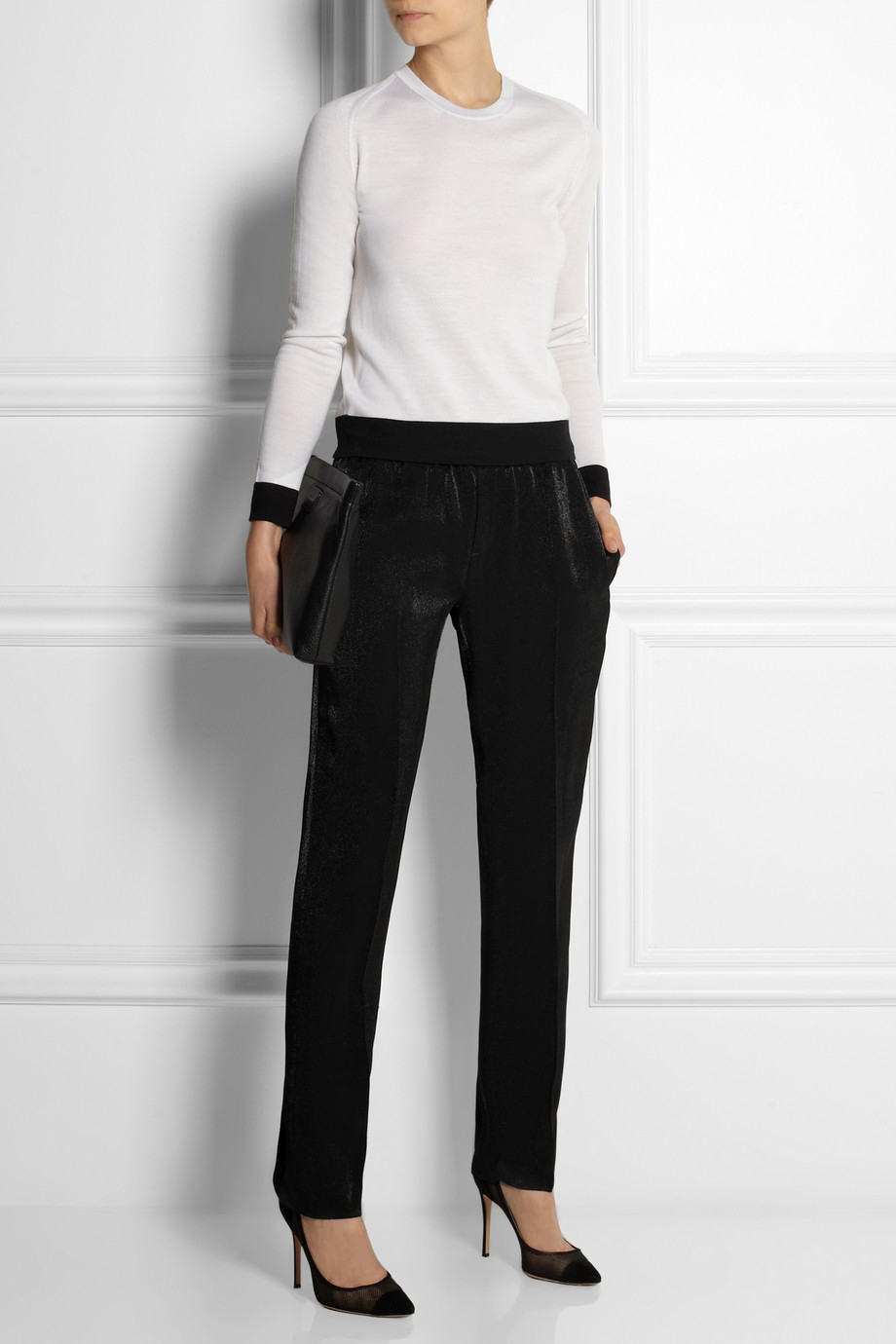 Lyst Calvin Klein Satin Crepe Tapered Pants In Black