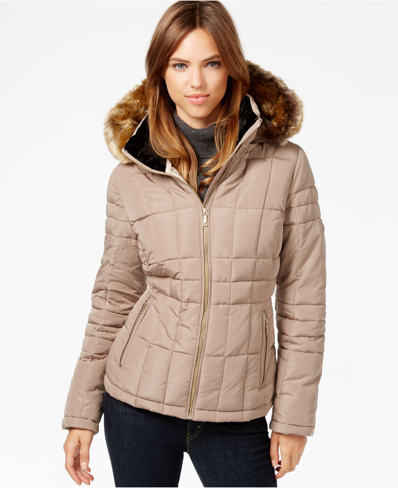 Lyst Calvin Klein Faux Fur Trim Water Resistant Quilted