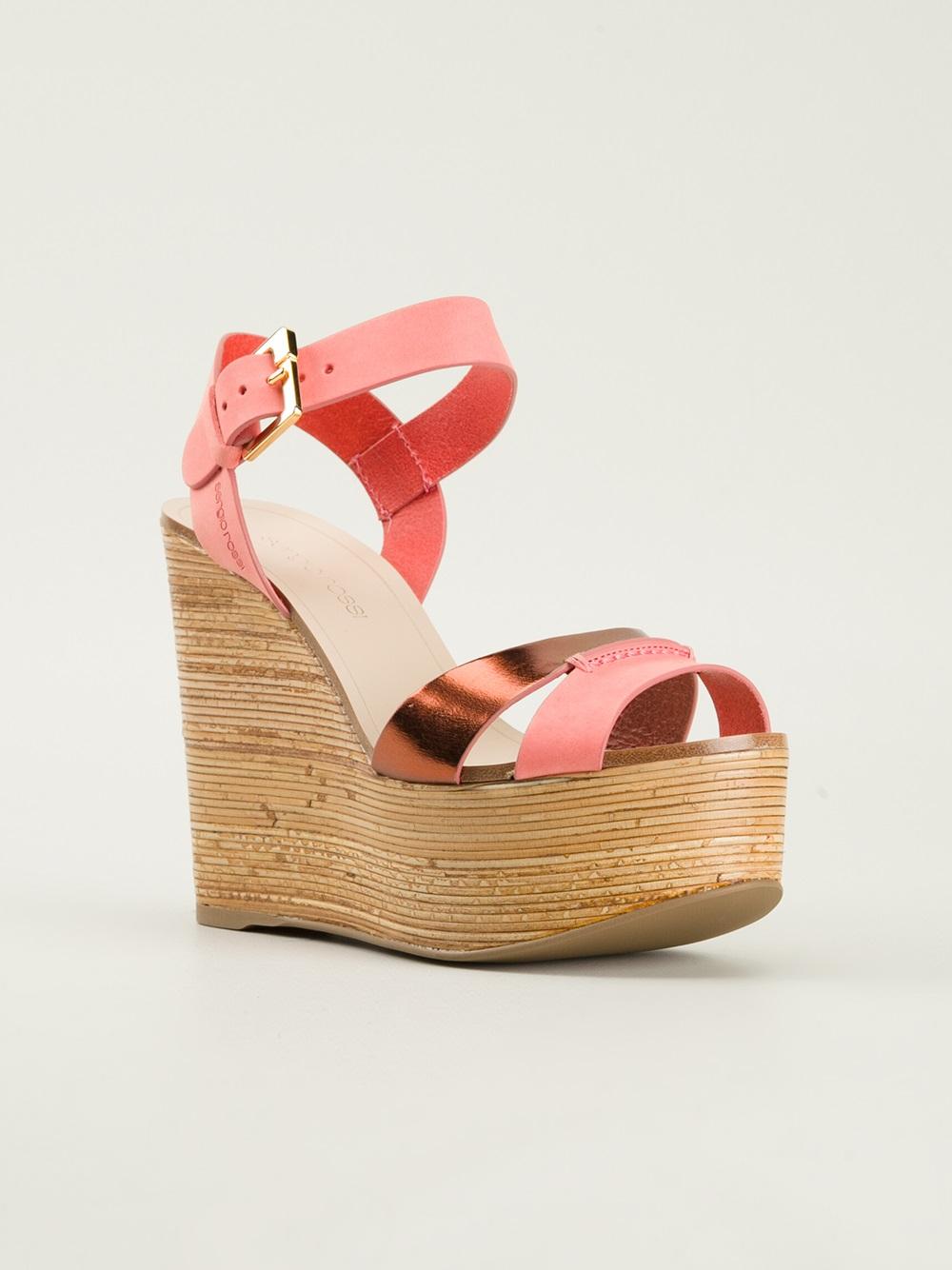sergio wedge sandals in pink pink purple lyst