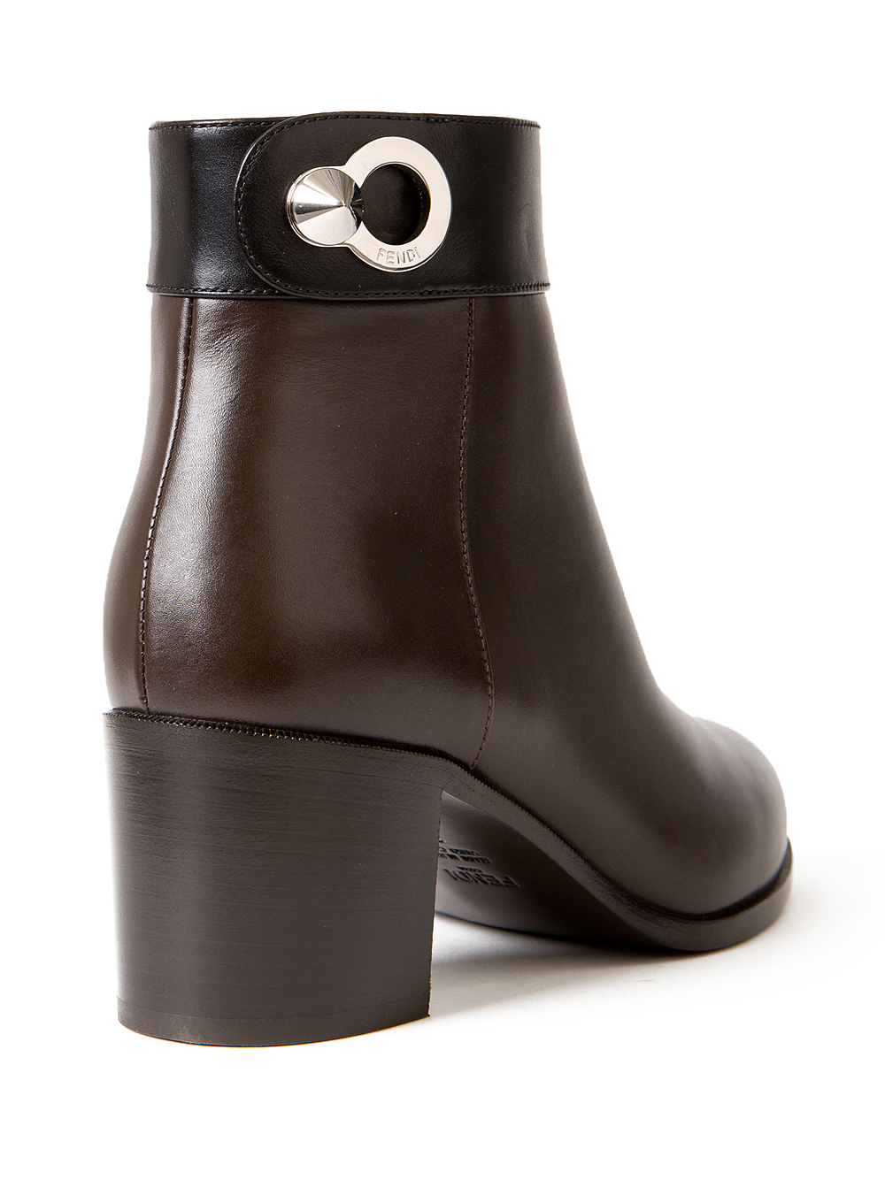 Fendi Leather Bicolor Ankle Boots in Brown