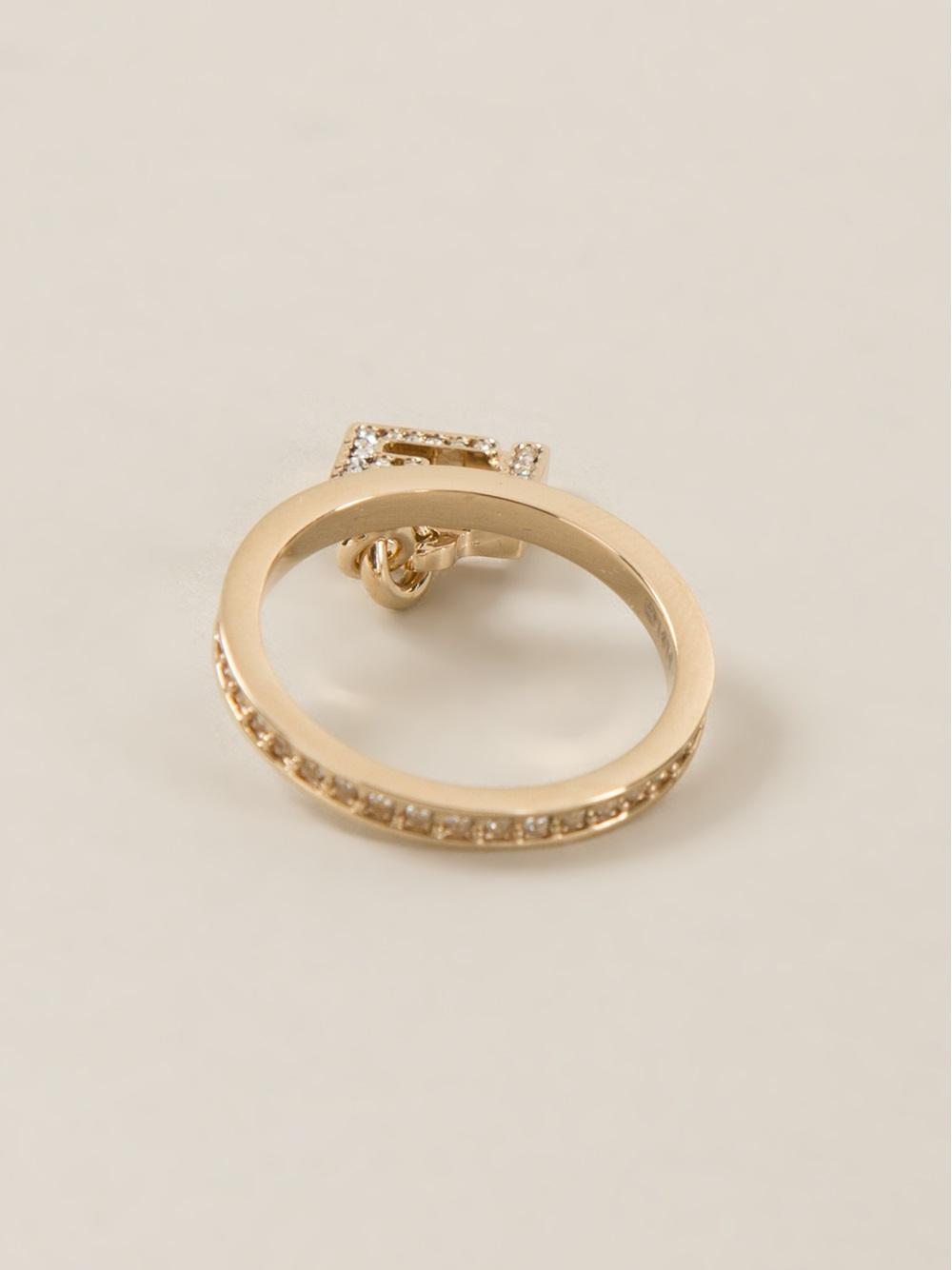 Fendi embellished logo ring - Metallic lZ3KXJ348