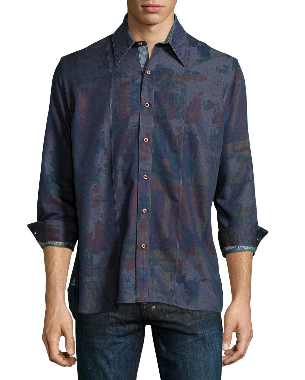 Robert graham pourhouse abstract print sport shirt in blue for Robert graham tall shirts