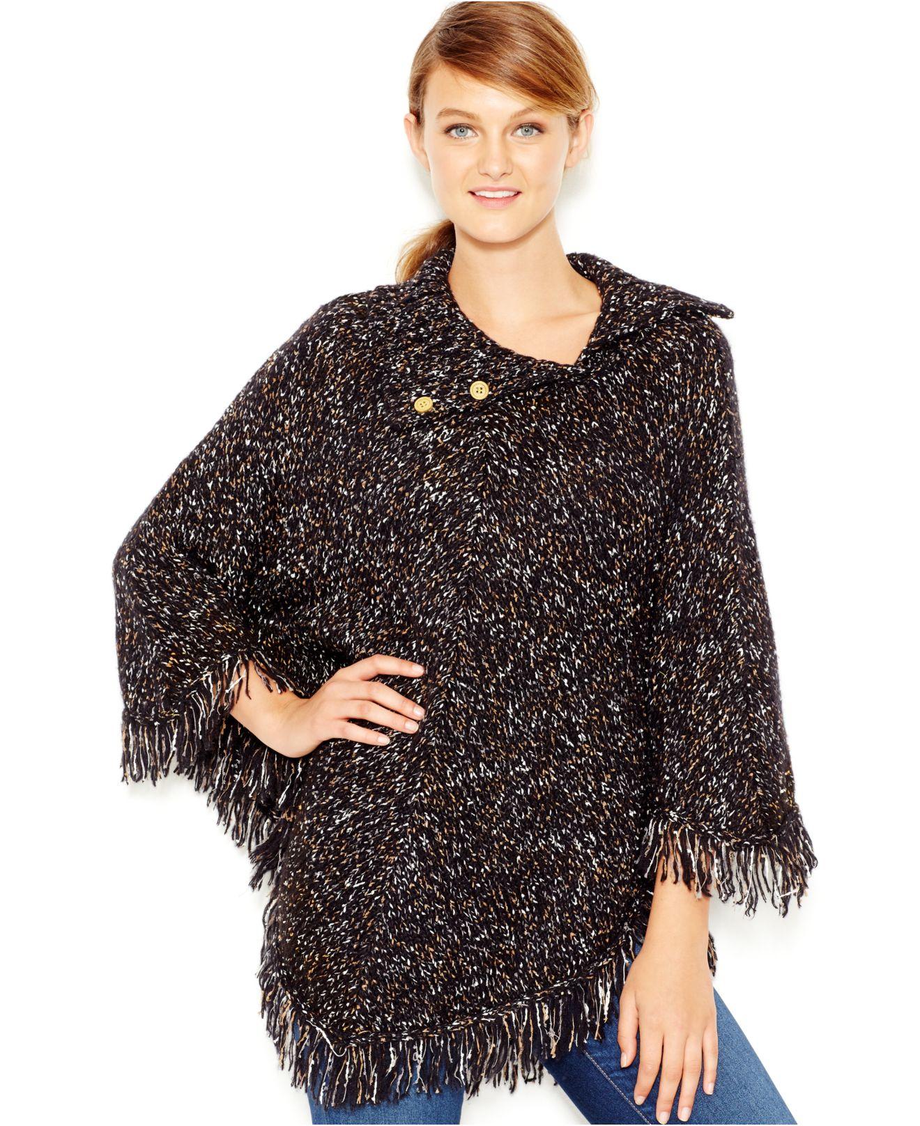 d4c23ffb9 Kensie Fringe-detail Sweater Poncho in Black - Lyst