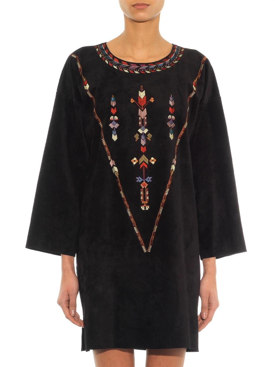Isabel marant maggy embroidered suede dress in black lyst for Isabel marant shirt dress