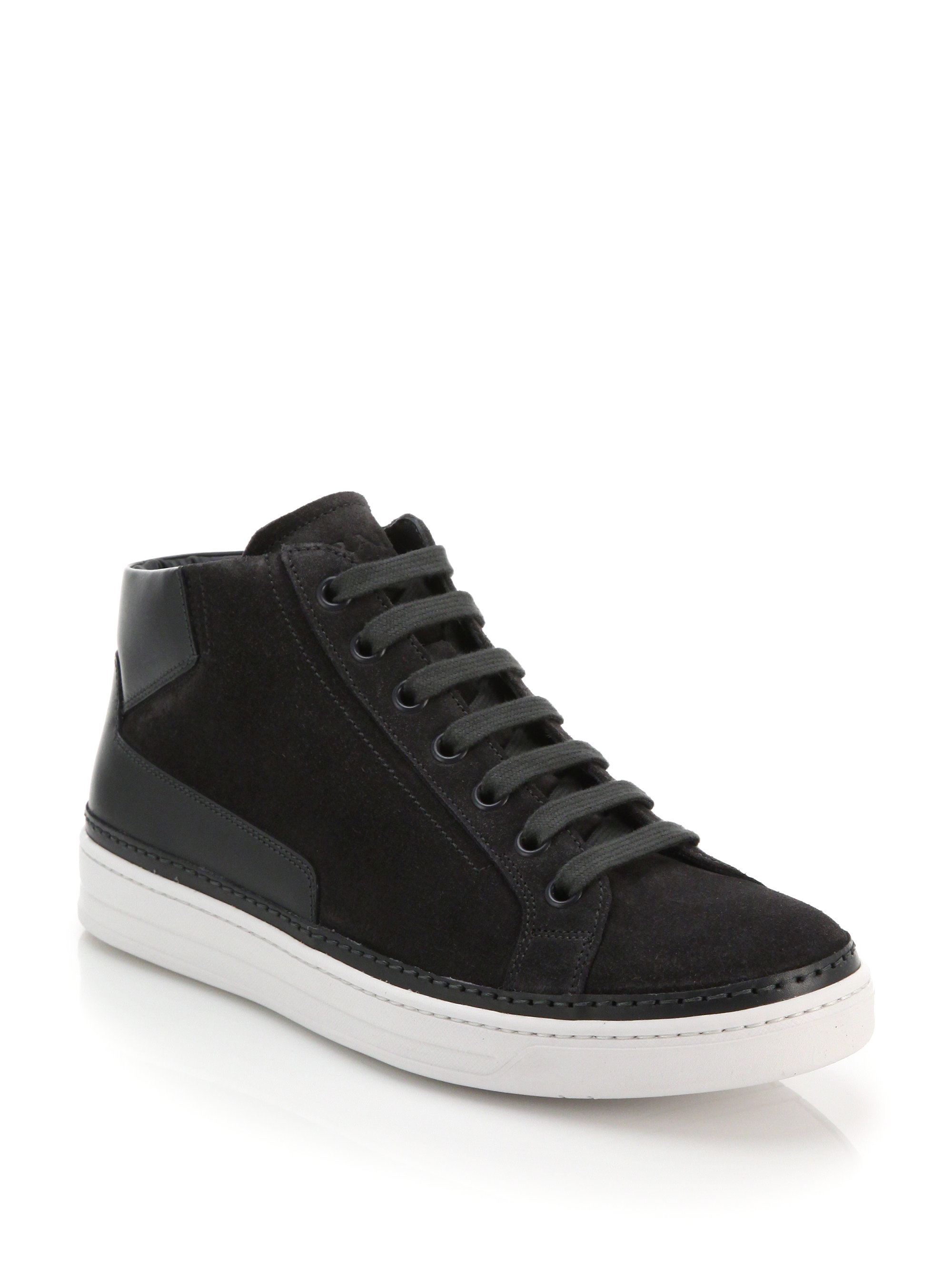 Rubber Rings For Men >> Prada Suede & Leather Mid-top Sneakers in Gray for Men   Lyst