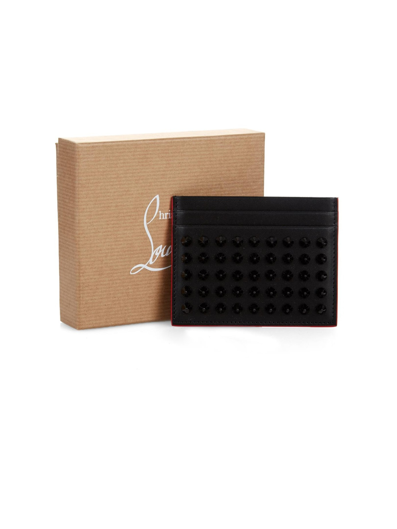 68362639bdf Christian Louboutin Black Kios Spikes Leather Cardholder for men