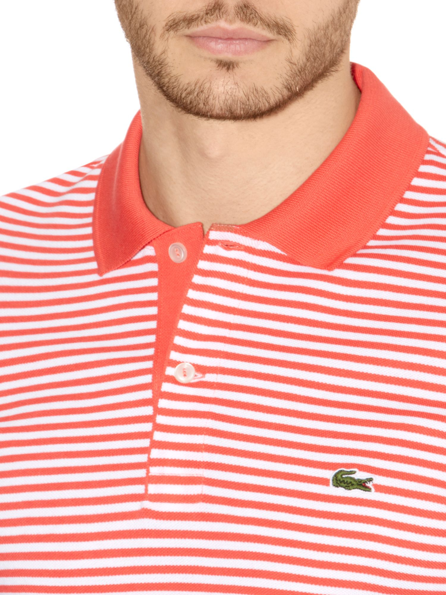 Lyst lacoste striped polo shirt in red for men for Lacoste stripe pique polo shirt