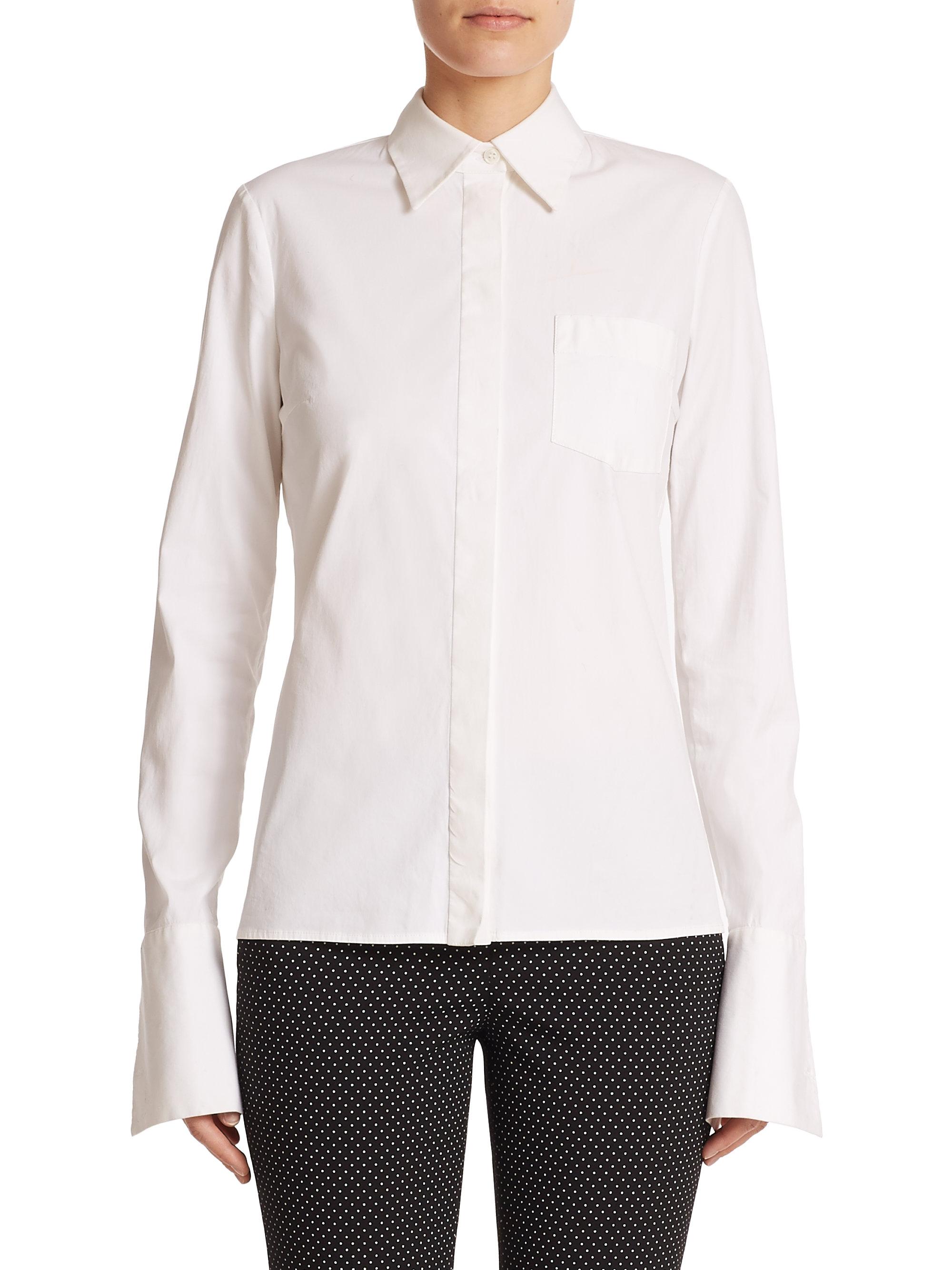 Michael kors button down dress shirt in white lyst for White button down dress shirt