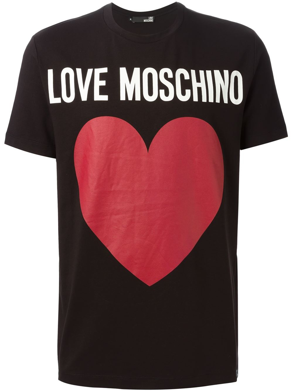 love moschino heart print t shirt in black for men lyst. Black Bedroom Furniture Sets. Home Design Ideas