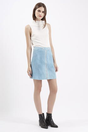 Topshop Tall Tab Waist Suede Skirt in Blue | Lyst