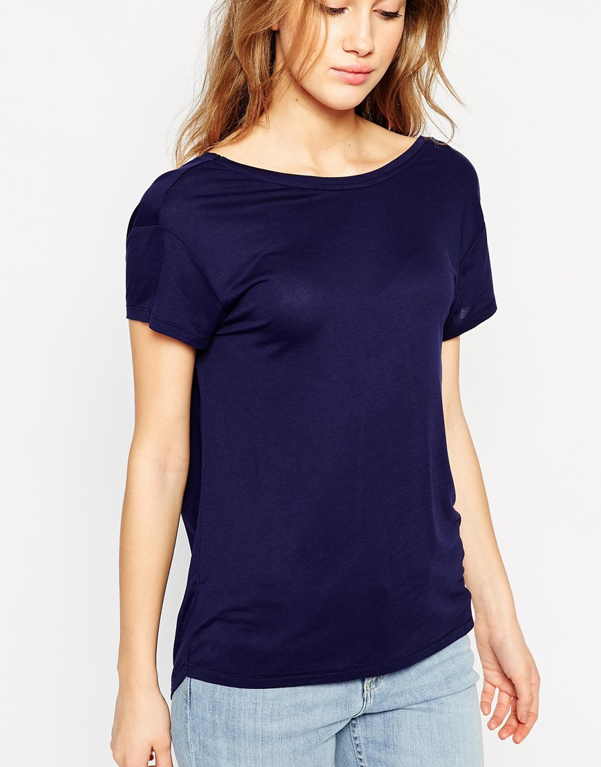 Asos T Shirt With Scoop Back In Blue Lyst