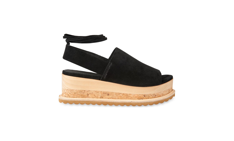 Fiona Shoes Black And White Peep Toe