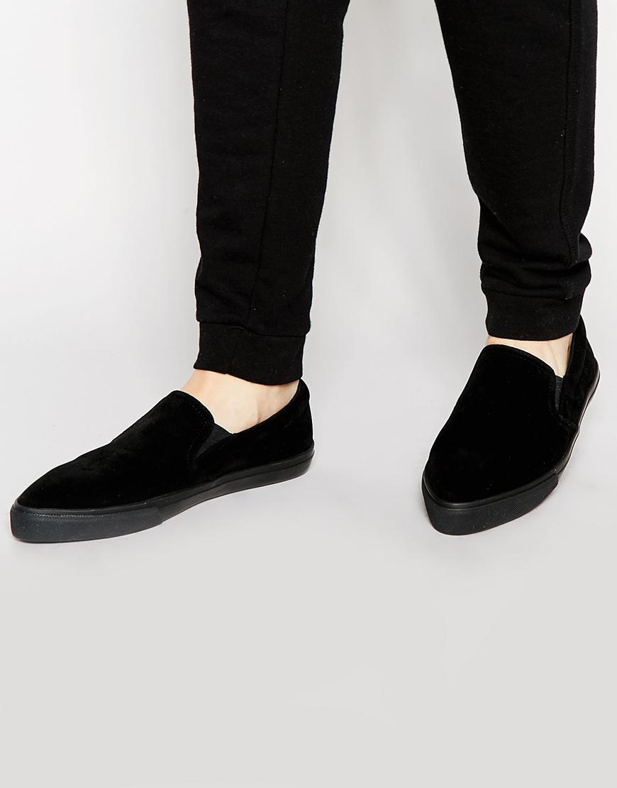 ASOS Pointed Slip On Plimsolls In Black