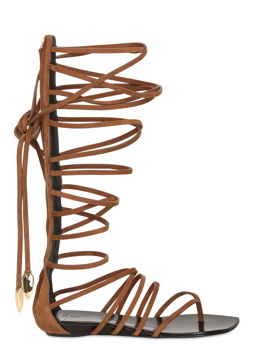 804c47890afb Lyst - Giuseppe Zanotti Lace-Up Leather Gladiator Sandals in Brown