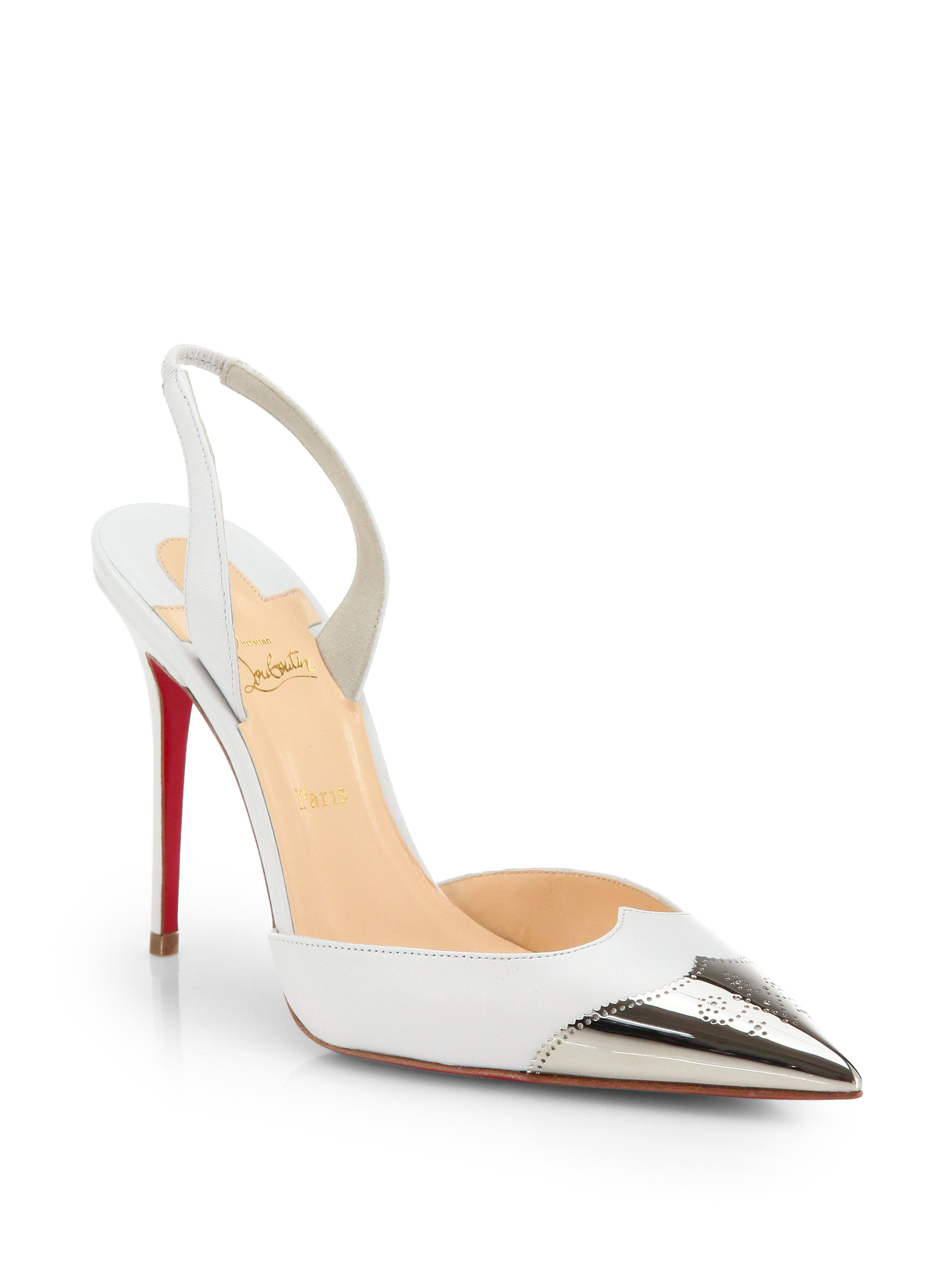 christian louis button shoes - christian louboutin slingback sandals White patent leather block ...