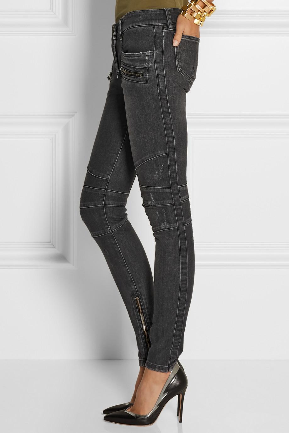 Balmain Denim Mid-Rise Skinny Jeans in Grey
