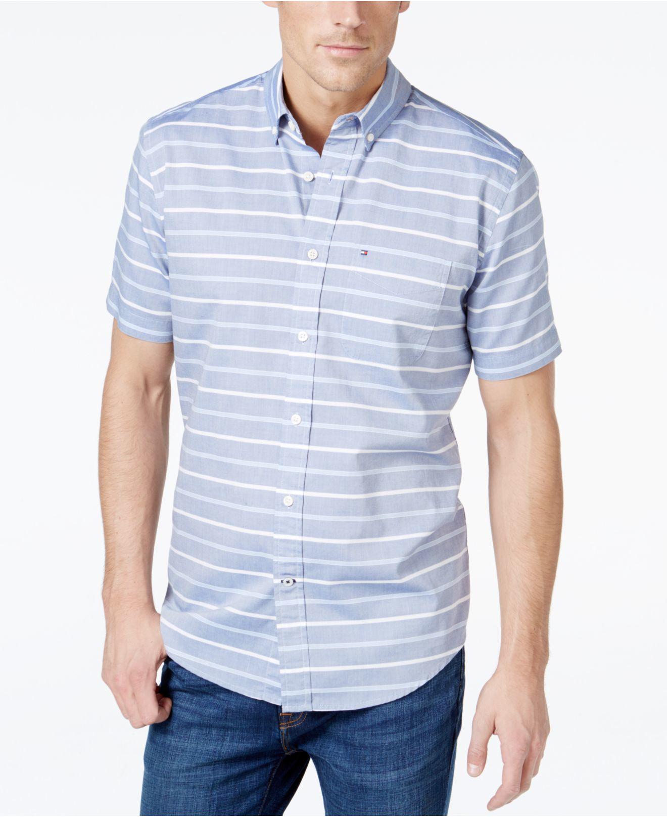 Tommy hilfiger malcom horizontal stripe short sleeve shirt for Horizontal striped dress shirts men