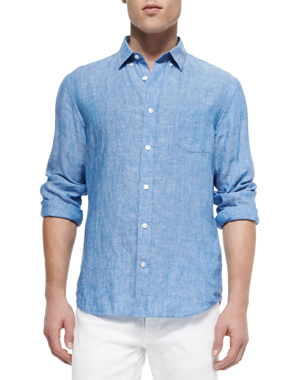 Vince Linen Button-down Shirt in Blue for Men | Lyst