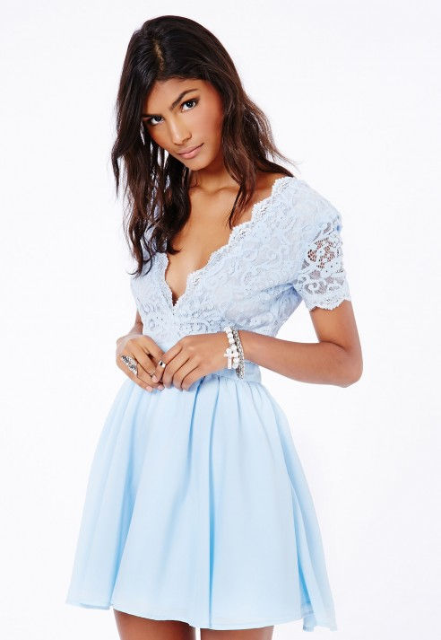 a7751297e0f Missguided Aleena Eyelash Lace Plunge Neck Puffball Mini Dress In ...