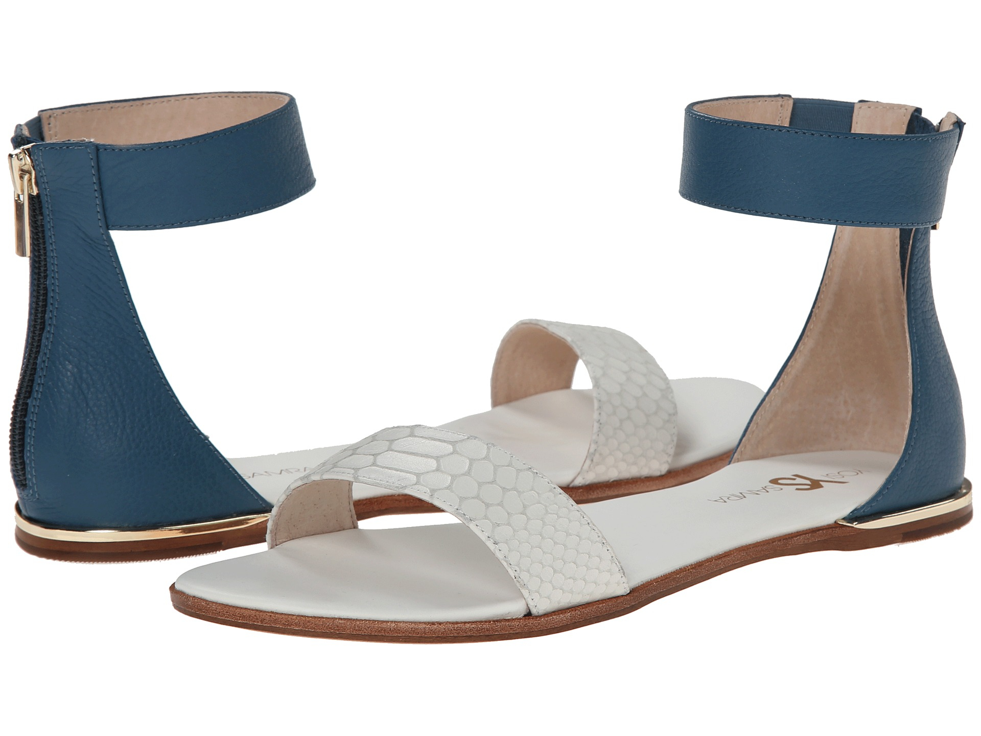 2fe001579aed8 Lyst - Yosi Samra Cambelle 3d Croco Leather Sandal in Blue