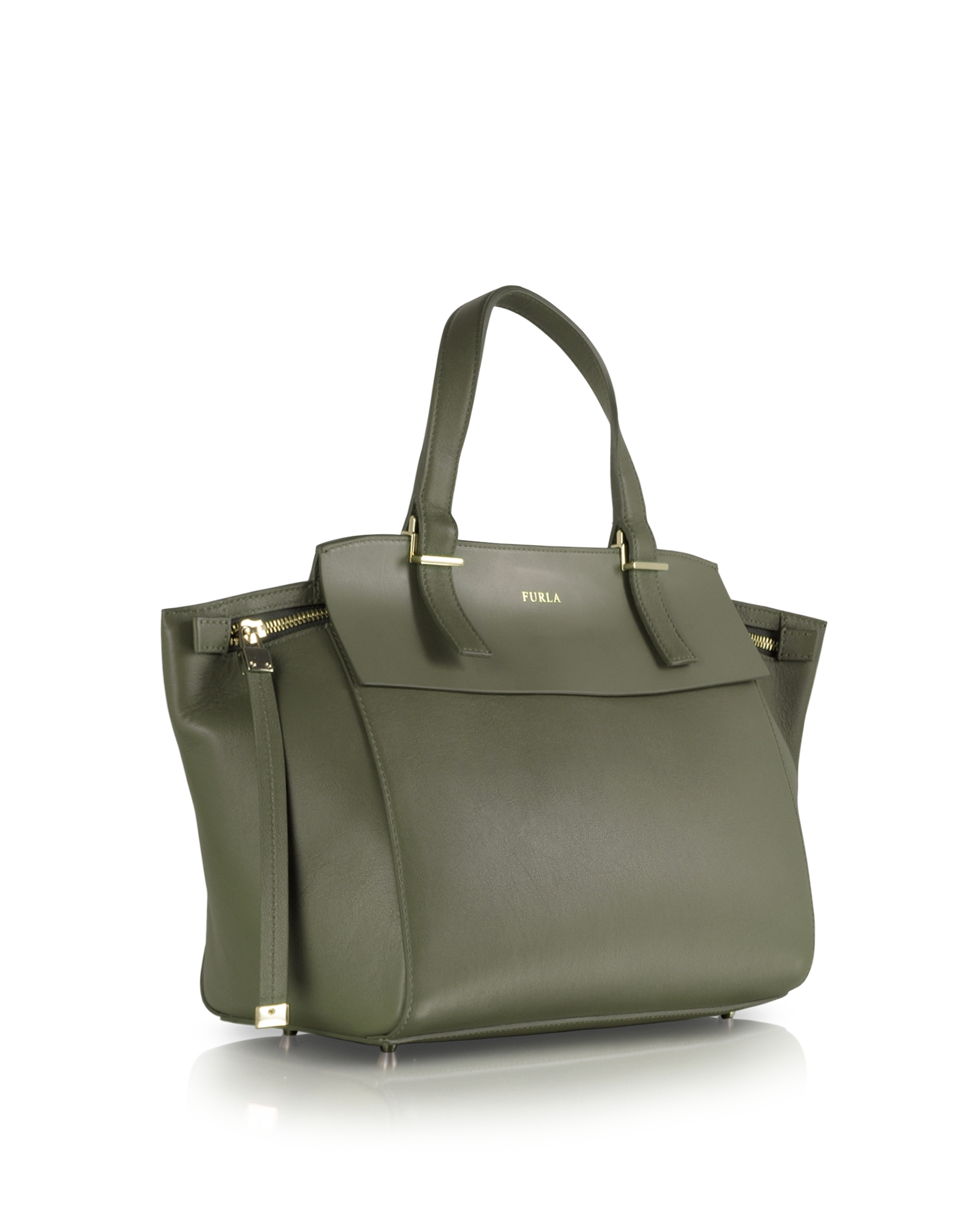 Furla Dolce Vita Sage Green Leather Tote in Green | Lyst