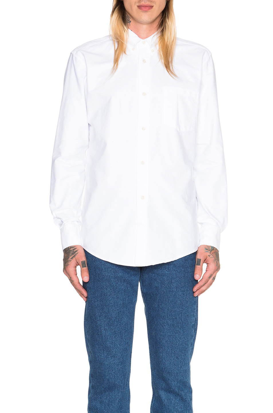 Lyst our legacy heavy oxford button down in white for Heavy button down shirts
