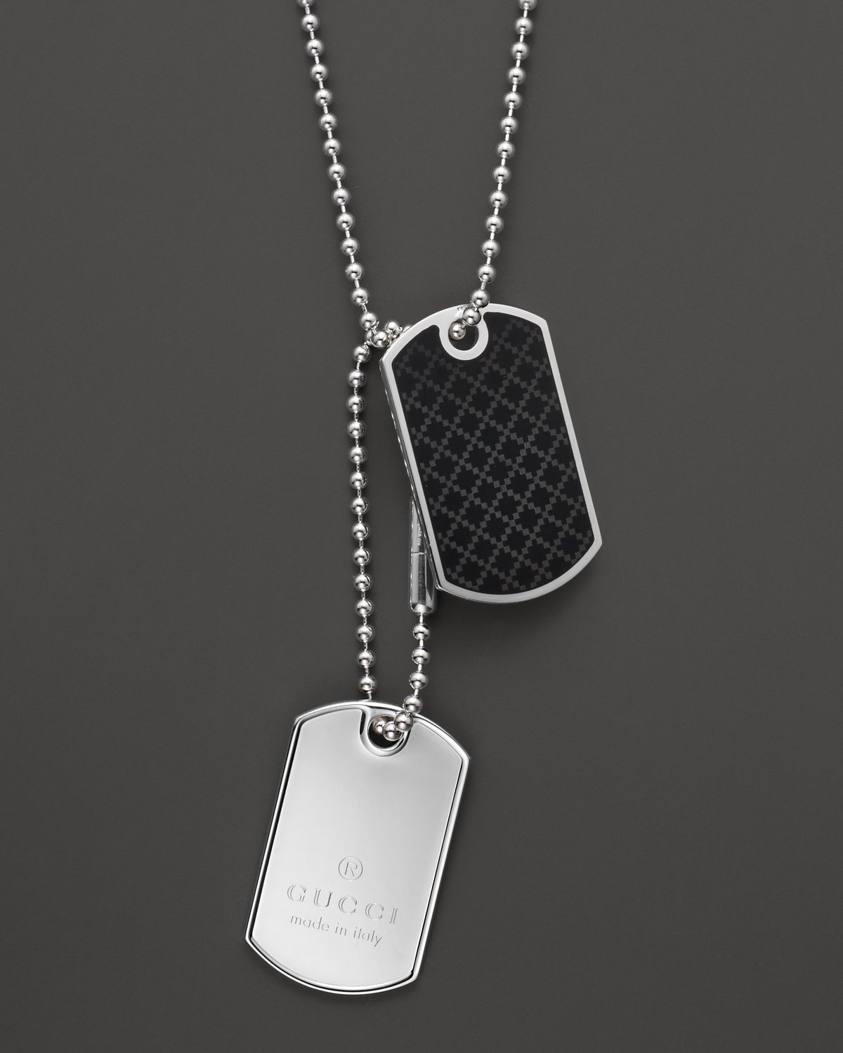 Gucci Dog Tag Necklace 236 In Silver Black Metallic For