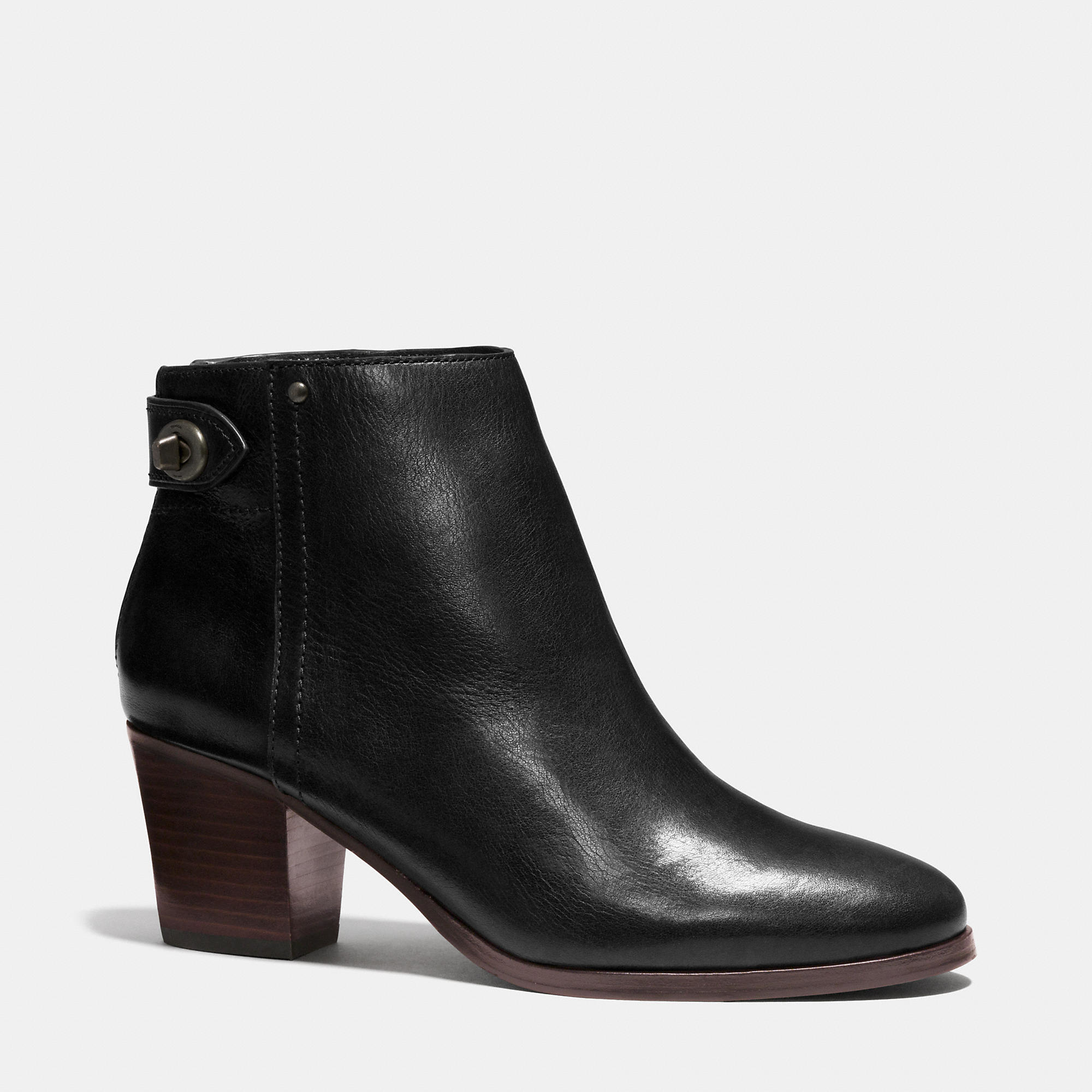 9667374a575 COACH Black Windsor Leather Ankle Boots