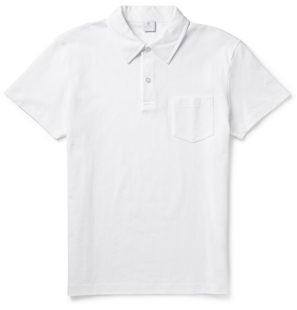Sunspel riviera cotton mesh polo shirt in white for men lyst for Cotton polo shirts for men