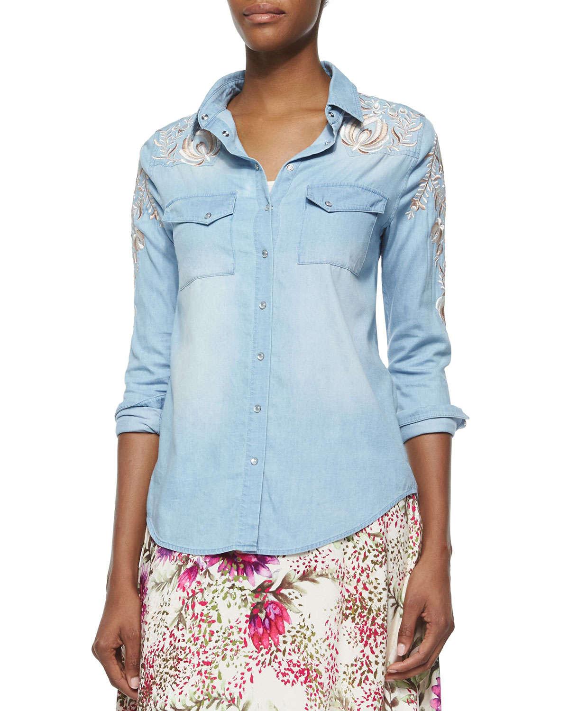 Haute Hippie Long Sleeve Chambray Shirt W Threadwork In