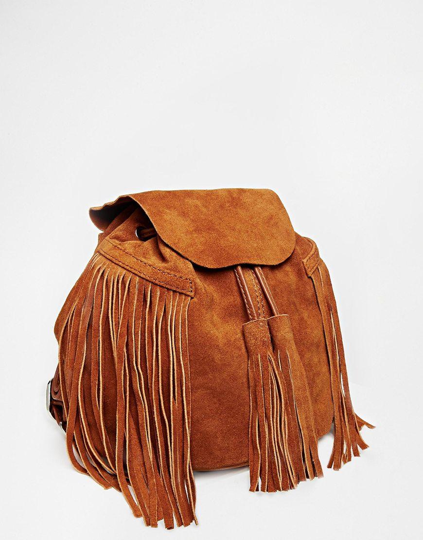replica ysl - yves saint laurent black leather fringed festival backpack, ysl ...