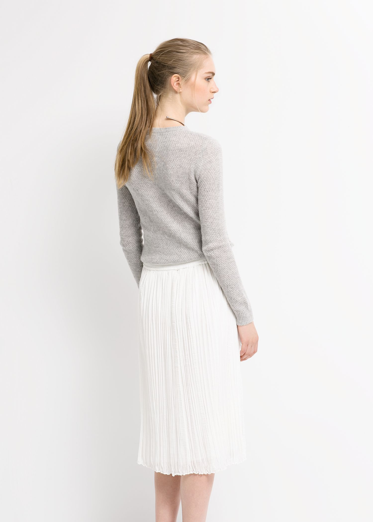 dcd56a512f Mango Textured Pleated Skirt in White - Lyst