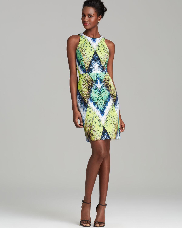 8847f2aa0e1 Lyst - MILLY Dress Tribal Print Racerback Sheath in Green