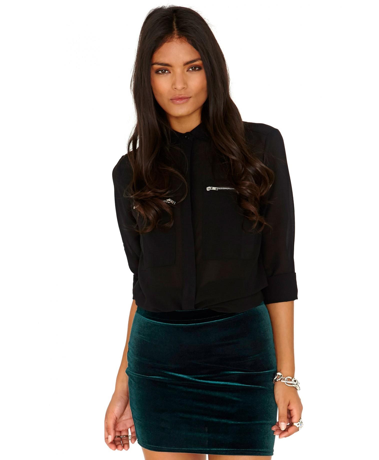 Lyst Missguided Agnese Velvet Mini Skirt In Deep Green