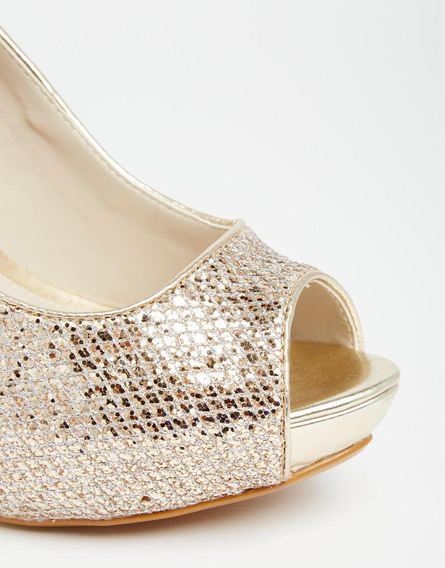 65834162d1c Lyst - ALDO Nean Gold Glitter Peep Toe Heeled Shoes in Metallic