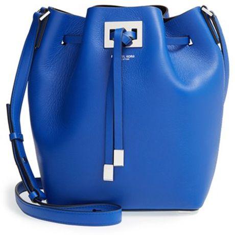 Michael Kors Miranda Medium Leather Bucket Bag in Blue (COBALT)