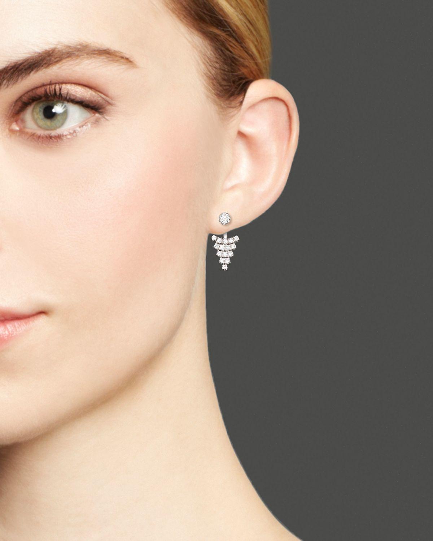 Diamond Triangle Earring Jackets In 14k White Gold 60 Ct T W