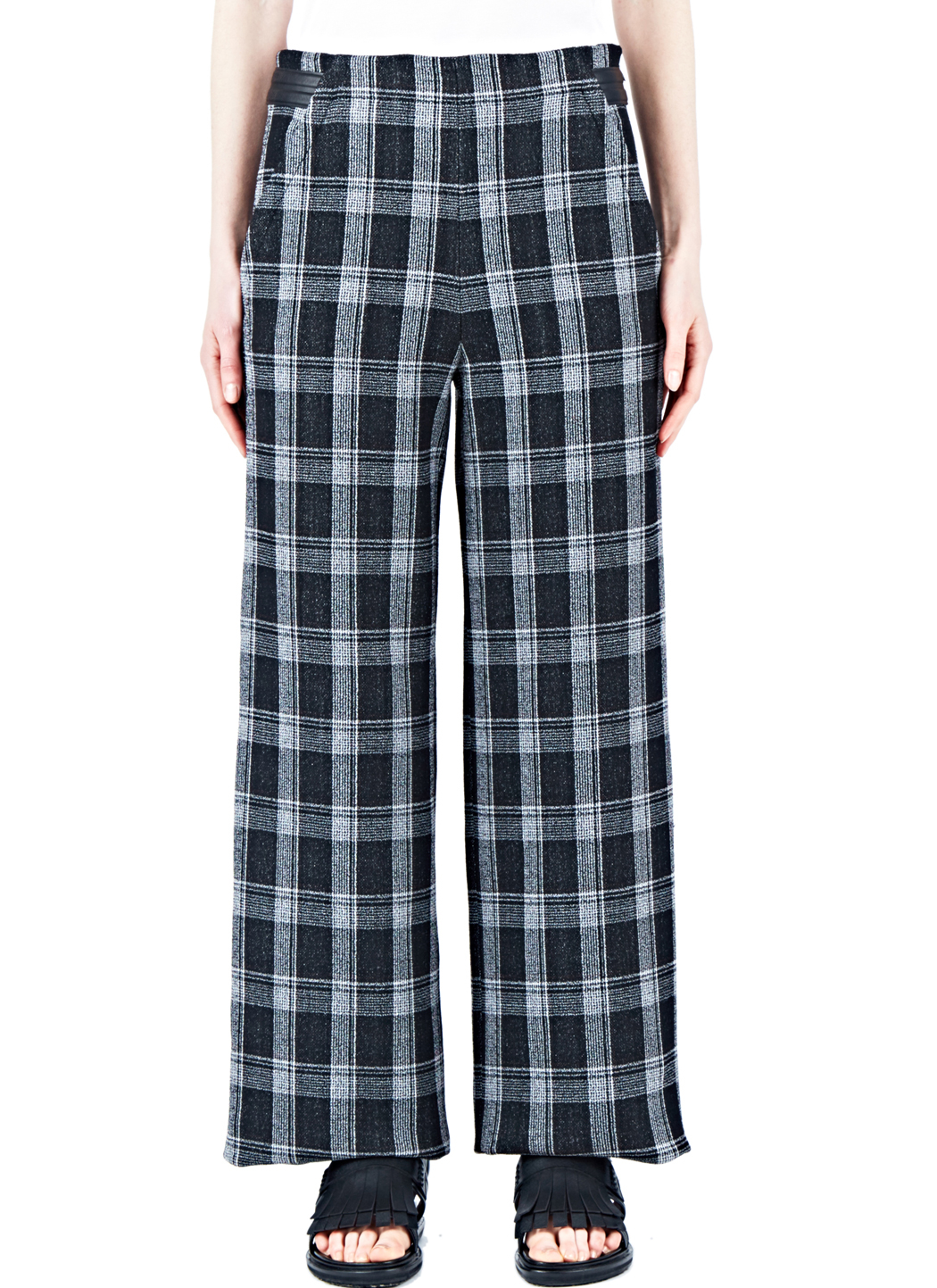 Have a fun adult play date in these plaid pants. They feature a high waist with a side zipper closure, dramatic wide pant legs, and a blue and white plaid pattern. Woven fabric offers no stretch. Model is 5'7